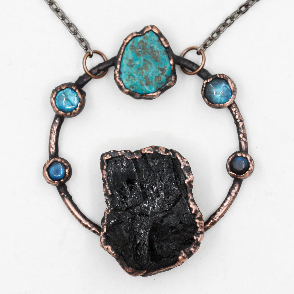 Electroformed Black Tourmaline, Turquoise & Labradorite Necklace