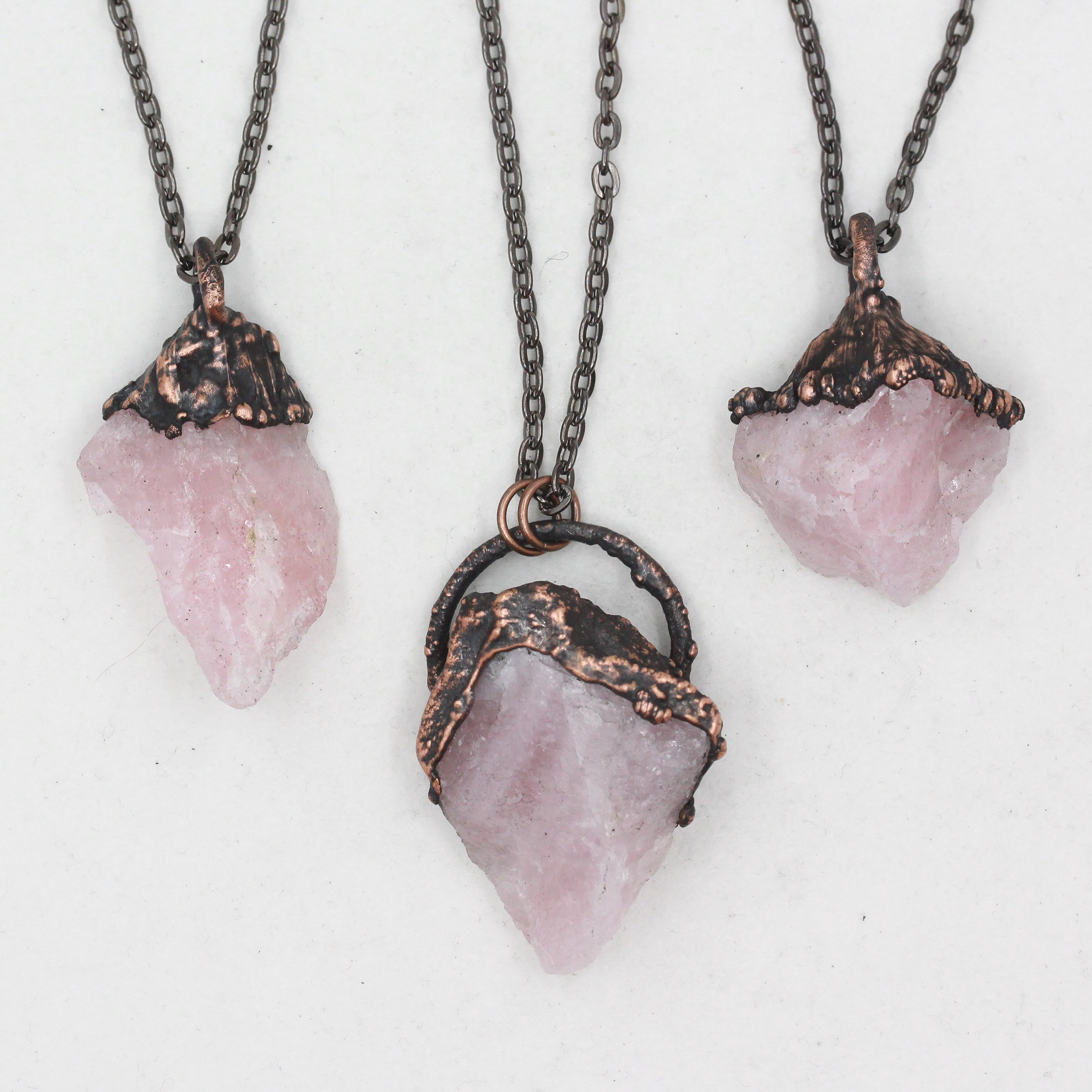 Copper Electroformed Raw Rose Quartz Crystal Necklace