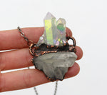 Electroformed Angel Aura Quartz & Clear Quartz Crystal Cluster Necklace