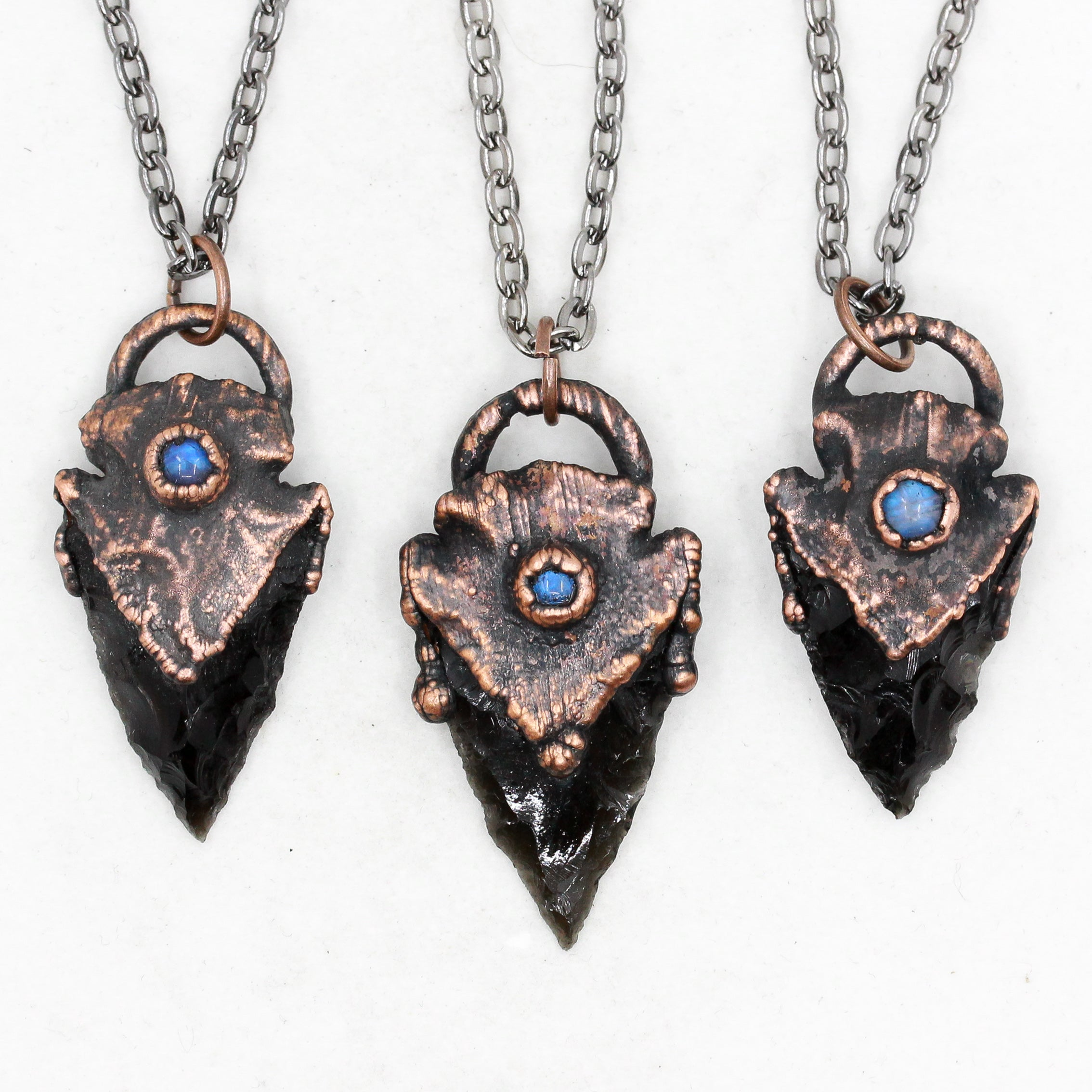 Mini Electroformed Black Obsidian Arrowhead & Moonstone Crystal Necklace