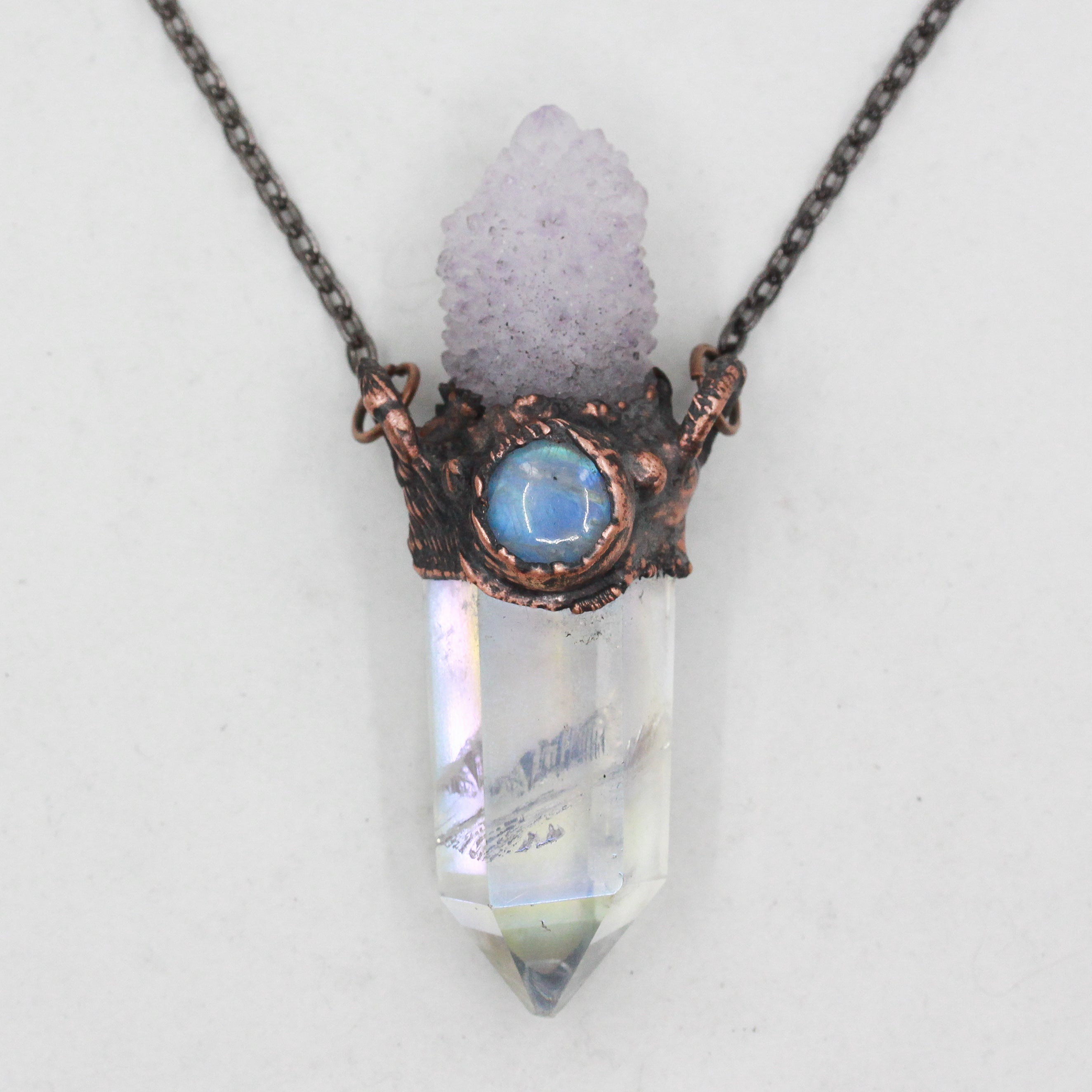 Electroformed Angel Aura Quartz & Spirit Quartz Crystal Necklace