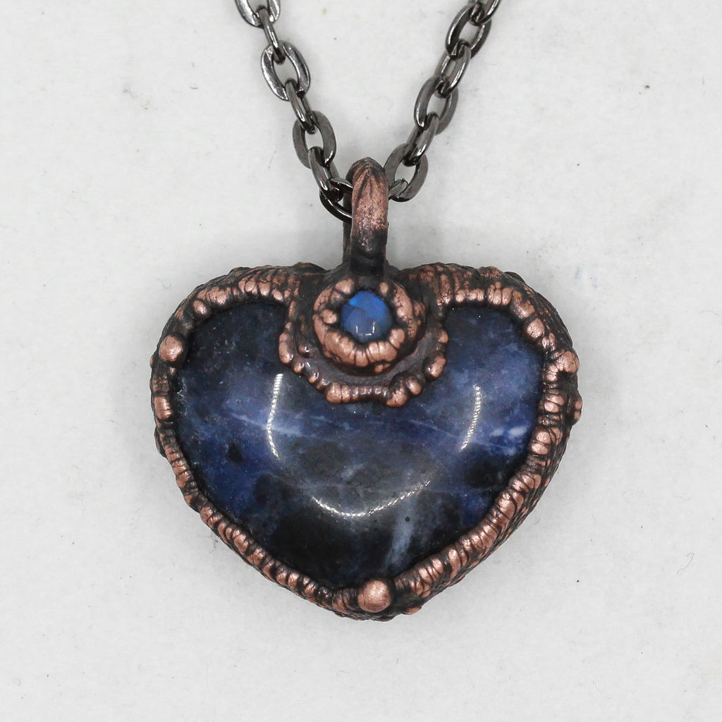Electroformed Sodalite & Moonstone Love Heart Crystal Necklace