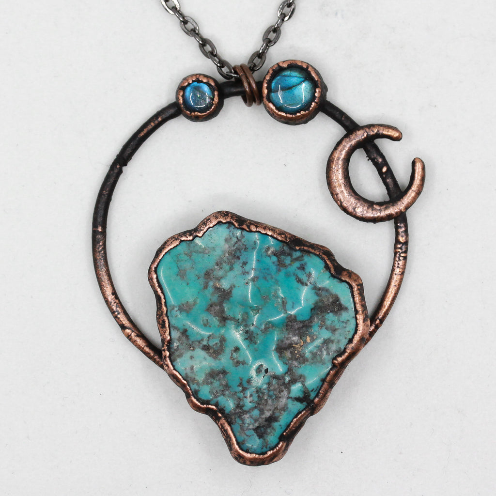 Electroformed Turquoise & Labradorite Crystal Moon Necklace
