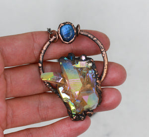 Electroformed Sunshine Aura Quartz & Labradorite Crystal Necklace