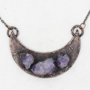 Electroformed Raw Amethyst Crystal Cluster Moon Necklace
