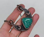 Copper Electroformed Amazonite Crescent Moon Necklace