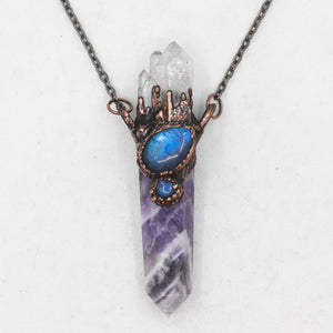 Electroformed Amethyst, Quartz & Labradorite Raw Crystal Necklace