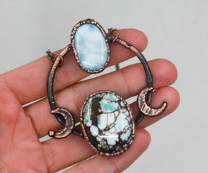 Electroformed Turquoise & Larimar Crystal Moon Necklace