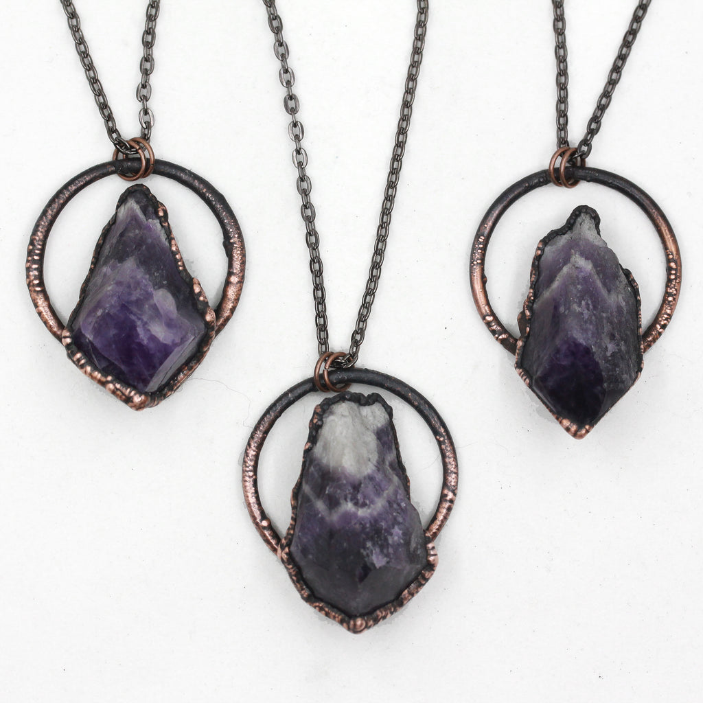 Small Copper Electroformed Chevron Amethyst Raw Crystal Necklace