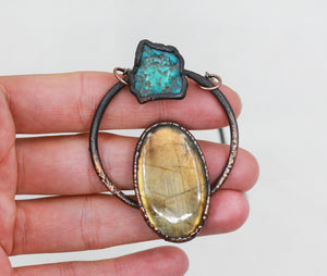 Electroformed Labradorite & Turquoise Crystal Necklace