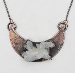 Electroformed Raw Quartz Crystal Cluster Moon Necklace