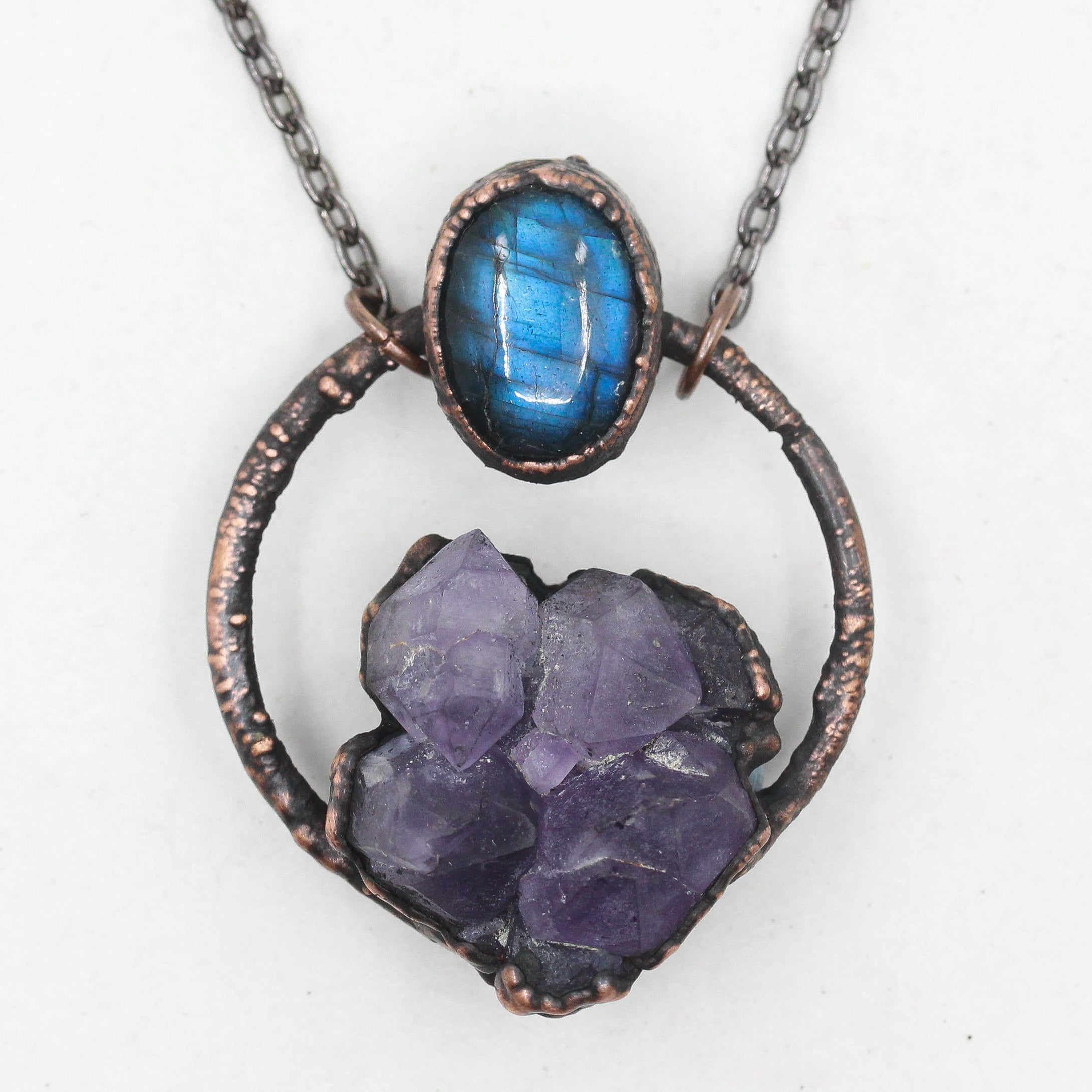 Electroformed Raw Amethyst & Labradorite Crystal Necklace