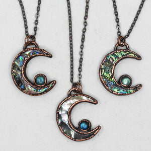 Copper Electroformed Abalone Shell & Labradorite Moon Necklace