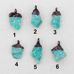 Copper Electroformed Raw Amazonite Crystal Necklace