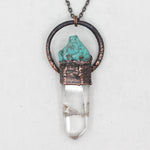 Electroformed Quartz & Turquoise Crystal Wand Necklace