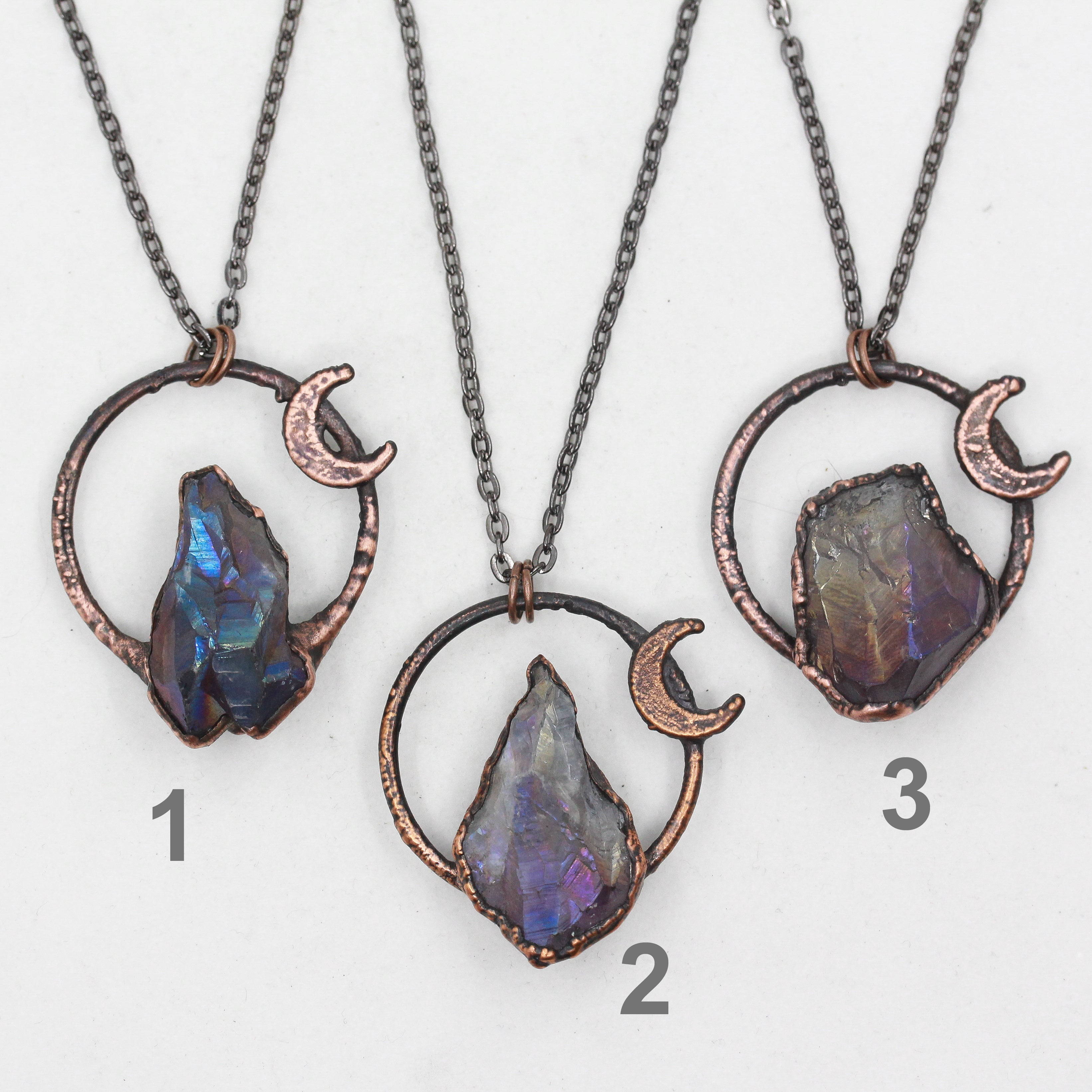 Small Electroformed Raw Aura Amethyst Crystal & Crescent Moon Necklace