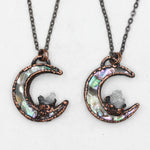 Electroformed Abalone Shell Crescent Moon & Quartz Necklace