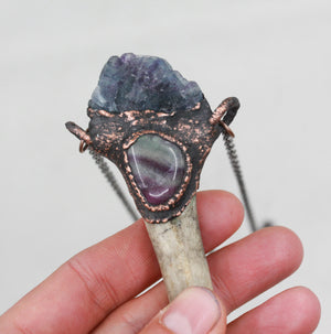 Electroformed Real Deer Antler Tip & Fluorite Crystal Necklace