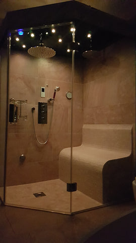 Ceiling speakers steam room shower finished product