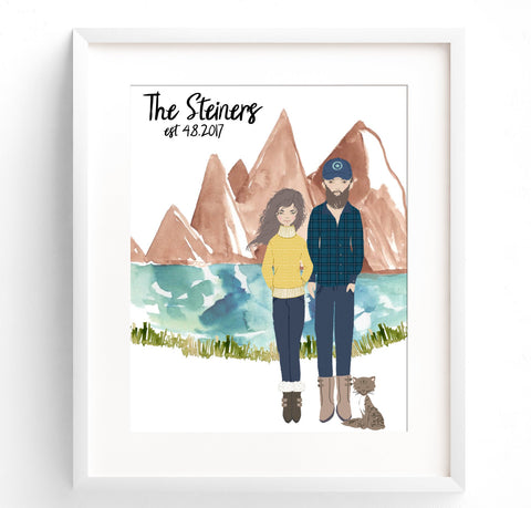 Family Portrait Illustration - Mountains