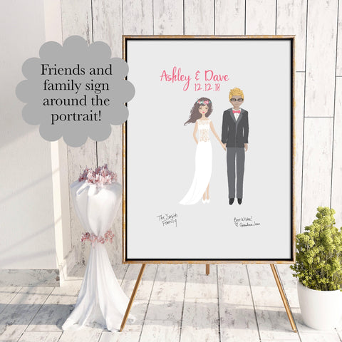 Wedding Guest Book Alternative, Canvas Portrait - Simple