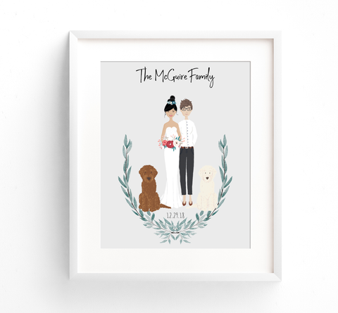 Family Portrait Illustration - Wedding with Greenery
