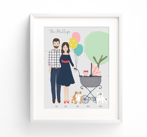 Family Portrait Illustration - Park