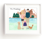 Family portrait, illustration, custom portrait, mothers day Gift, wedding gift, house warming