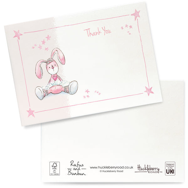 Ballet Bunbun Thank You Cards: Pack of 8