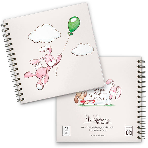 Balloon Flying Bunbun: Spiral-bound Notebook 140mm sq.