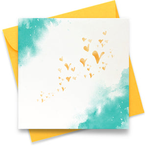 Flutterby Hearts - Teal: Greeting Card