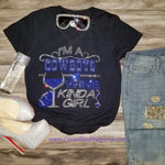 Dallas Cowboys and Wine Rhinestone Tee