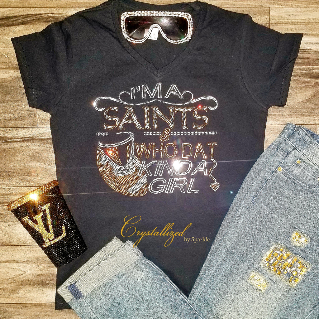 New Orleans Saints and Who Dat Rhinestone Tee