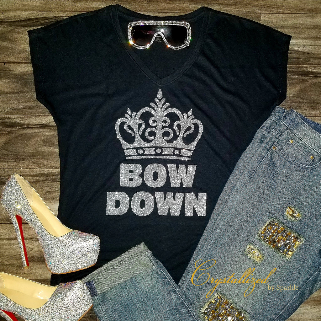 Bow Down Glitter Vinyl Graphic Tee