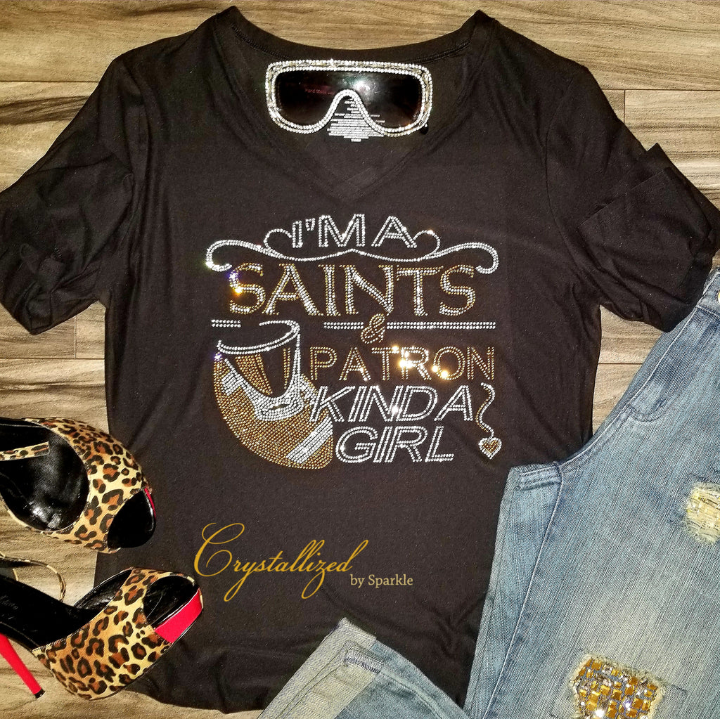 New Orleans Saints and Patron Rhinestone Tee