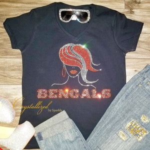 Bengals Inspired Crystallized Bling Bling Rhinestone T Shirt