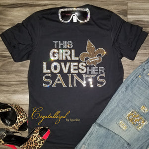 New Orleans Saints Crystallized Rhinestone Tee