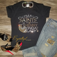 New Orleans Saints and Henny Rhinestone Tee