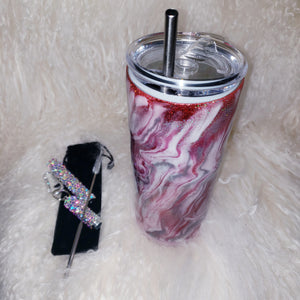 Crystallized Stainless Steel Straw