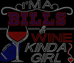 Buffalo Bills and Wine Rhinestone Tee