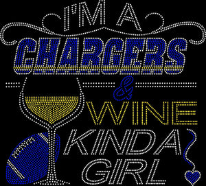 Los Angeles Chargers and Wine Rhinestone Tee