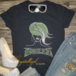 Philadelphia Eagles Flowy Hair Rhinestone Tee