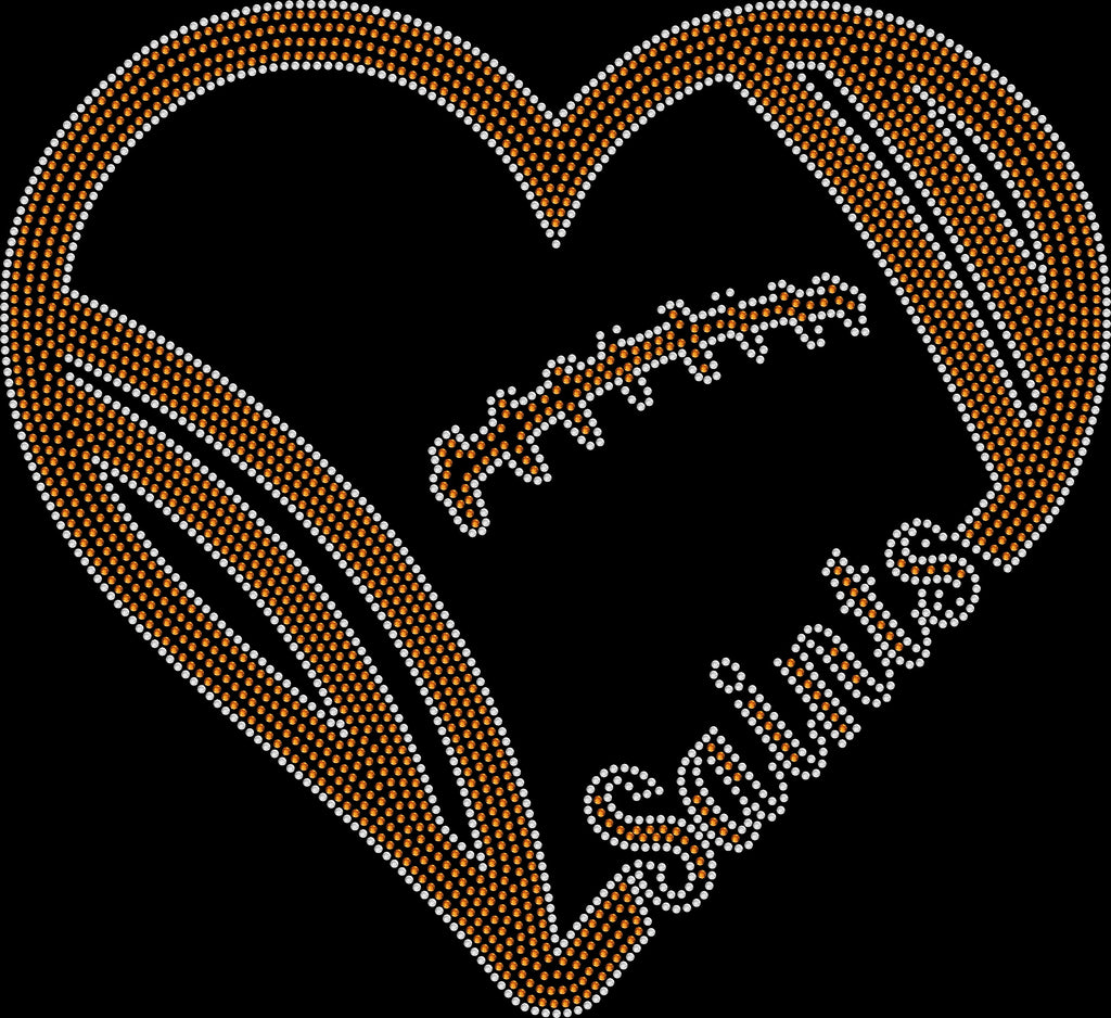 New Orleans Saints Heart Rhinestone Tee