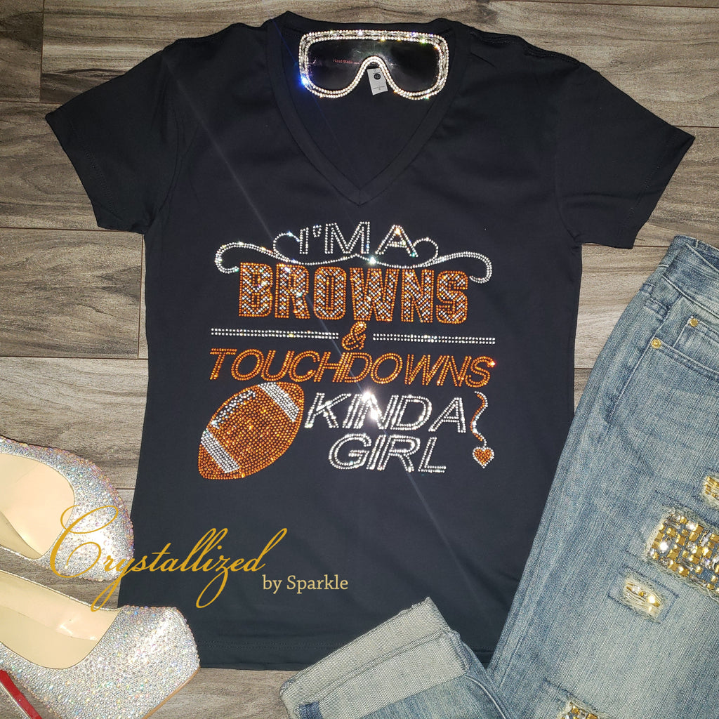 Cleveland Browns and Touchdowns Rhinestone Tee