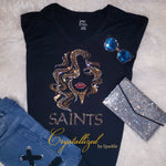 New Orleans Saints Fancy Hair Rhinestone Tee