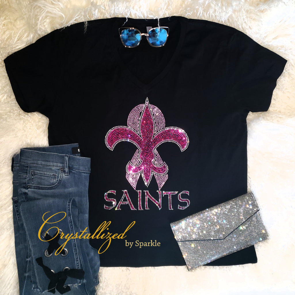 New Orleans Saints Breast Cancer Awareness Rhinestone Tee