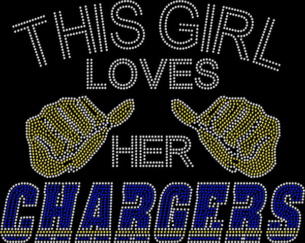 Los Angeles This Girl Loves Chargers Rhinestone Tee