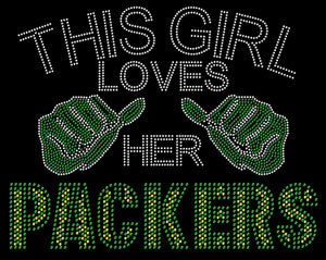 Green Bay This Girl Loves Packers Rhinestone Tee