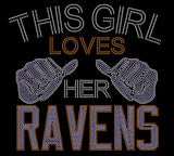 Baltimore This Girl Loves Her Ravens Rhinestone Tee