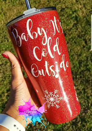 Personalized Stainless Steel Baby It's Cold Tumbler